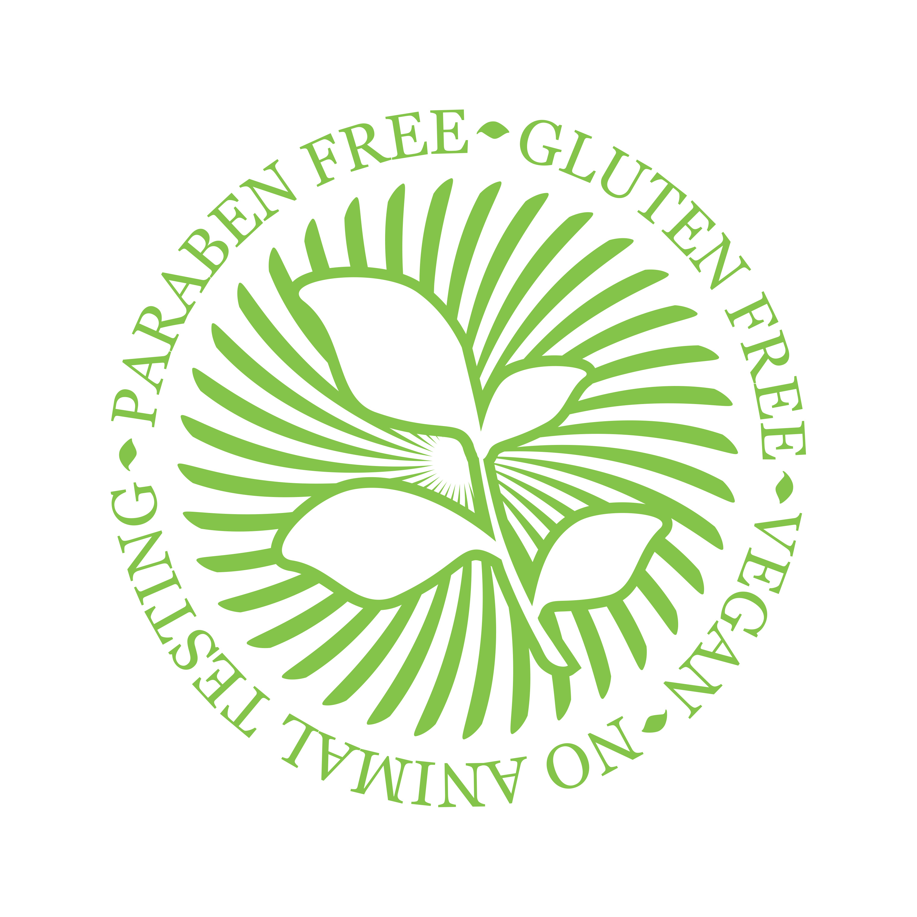 Products FREE of Gluten, Parabens, with no animal testing