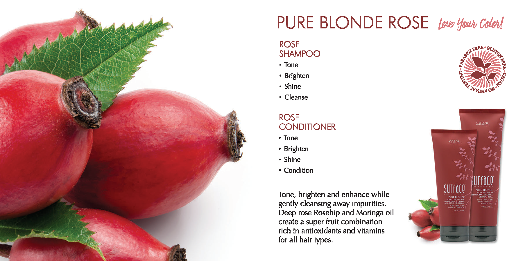 Surface Pure Blonde Rose Haircare Products